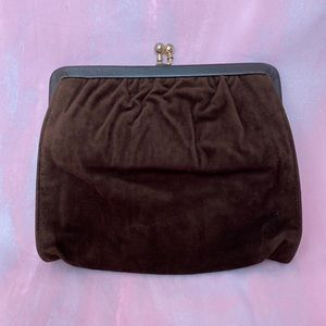 VINTAGE 1970s Brown Velvet Suede Square Clutch Bag